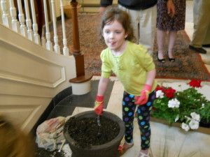 Planting flowers takes lots of concentration!